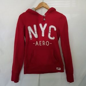 Aeropostale Graphic Long Sleeve Hoodie Red S